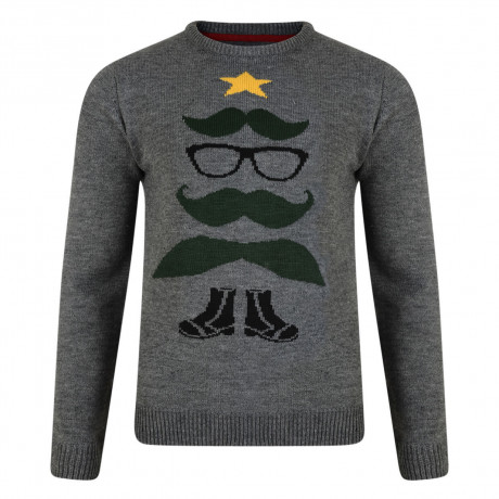 Novelty Christmas Jumper Crew Neck Xmas Tree Boots Charcoal Grey