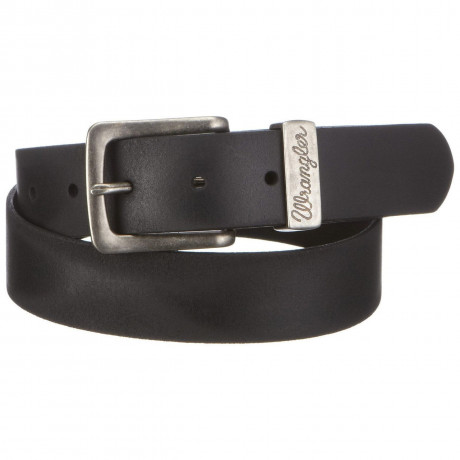Wrangler Basic Leather Metal Loop Belt Black
