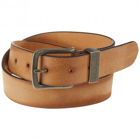 Wrangler Basic Leather Metal Loop Belt Cognac