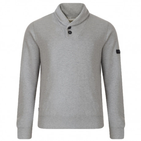 Dissident Shawl Neck Plain Sweatshirt Light Grey Marl