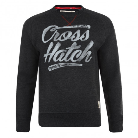 Crosshatch Crew Neck Grabit Print Sweatshirt Black Marl