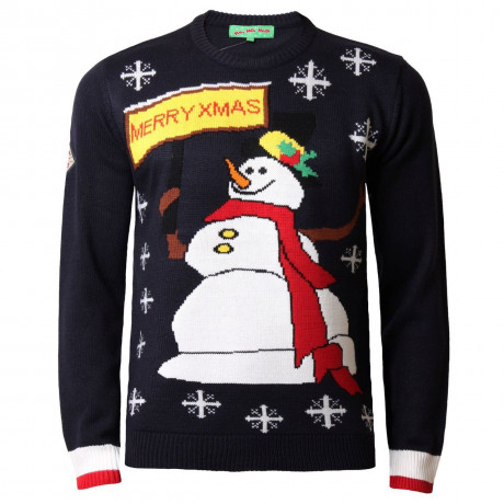 Novelty Christmas Jumper Crew Neck Snowman Navy