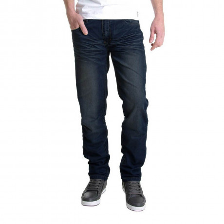 Crosshatch Straight Fit Denim Farrow Jeans Dark Wash Blue