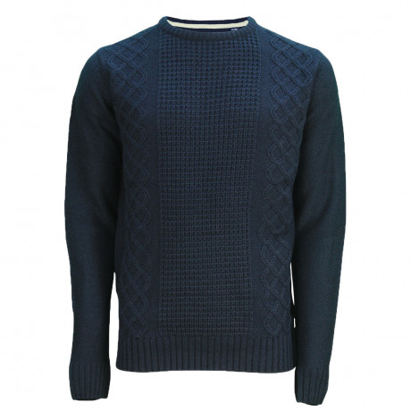 Soul Star Crew Neck Bradbrook Knitted Jumper Navy