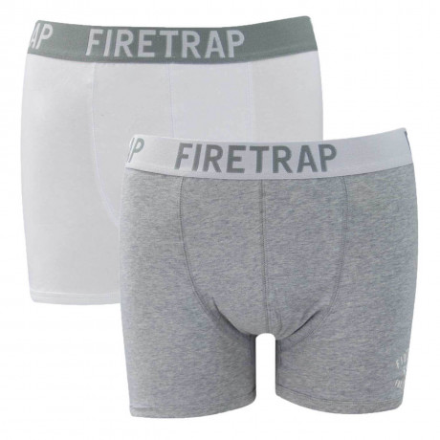 Firetrap Men's Boxer Shorts White & Grey - 2 Pack