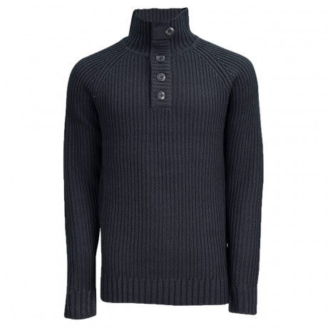 Soul Star Button Neck Bracken Knitted Jumper Black