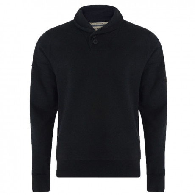 Dissident Shawl Neck Plain Sweatshirt Black