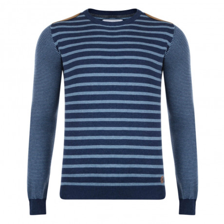 Smith & Jones Crew Neck Pictoris Striped Knit Jumper Navy