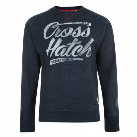 Crosshatch Crew Neck Grabit Print Sweatshirt Navy Marl