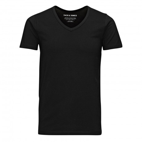 Jack & Jones Basic Vee Neck Cotton Lycra Plain T-shirt Black | Jean Scene