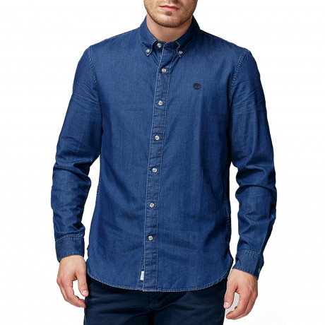 Timberland Classic Slim Chambray Shirt Long Sleeve Dark Wash | Jean Scene