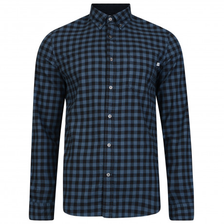 Timberland Flannel Slim Gingham Check Shirt Long Sleeve Dark Denim | Jean Scene