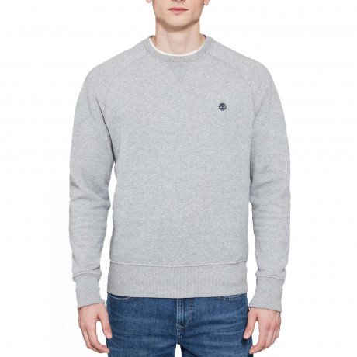 Timberland Men's Exeter Logo Logo Hooded Sweatshirt Medium Grey Heather | Jean Scene