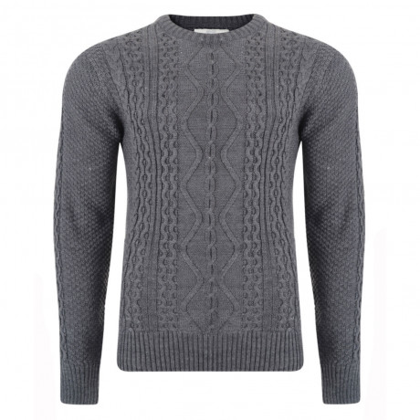 Crosshatch Crew Neck Acrylic Abbeystead Jumper Forged Iron Marl | Jean Scene