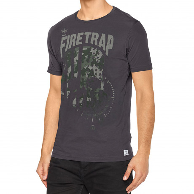 Firetrap Anacost Crew Neck Cotton Printed T-shirt Raven | Jean Scene