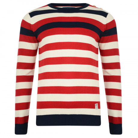 Crosshatch Crew Neck Stripe Jumper Feda Red Image