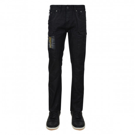 Rawcraft Straight Leg Cargo Jeans Black Coated Denim Image