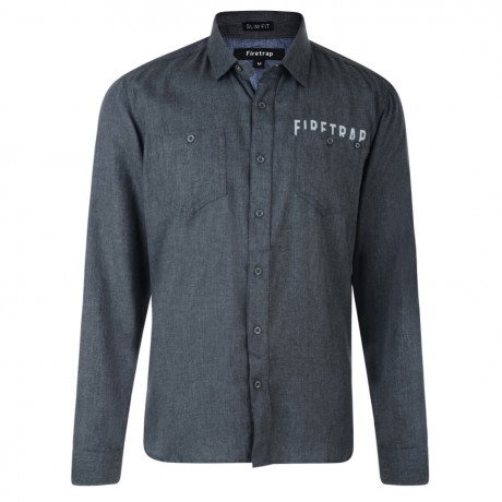 Firetrap Shirt Long Sleeve Plain Cotton Dark Shadow Grey Image