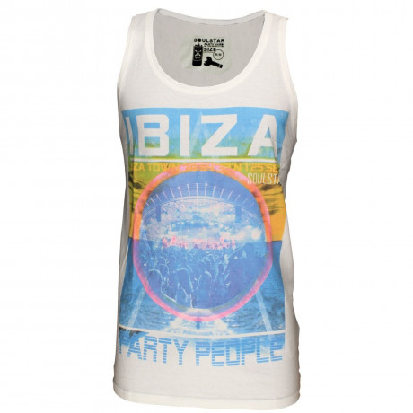 Soul Star Print Summer Vest Ibiza Party People White Image