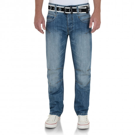 Crosshatch Straight Fit Oakland Jeans Faded Light Wash Image