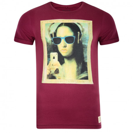 Blend Mona Lisa Grafty Print T-shirt Burgundy Image
