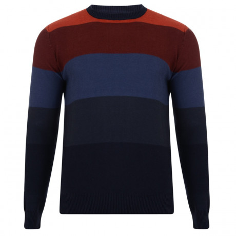 Crosshatch Crew Neck Stripe Jumper Girton Red Image