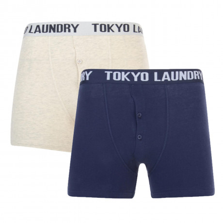 Tokyo Laundry 2 Pack Boxer Shorts Underwear Eclipse Blue & Grey Image