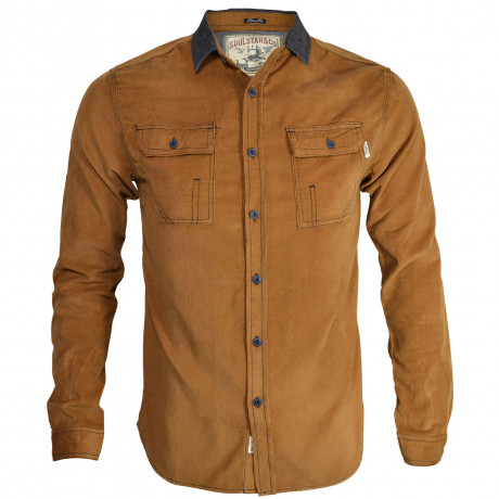 Soul Star Soft Cord Shirt Tan Beige Image