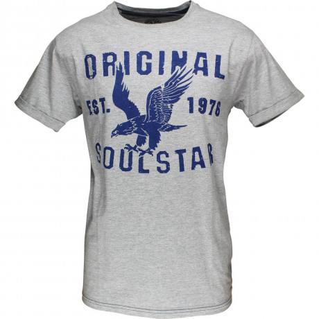 Soul Star Eagle Print T-shirt Grey Melange Image