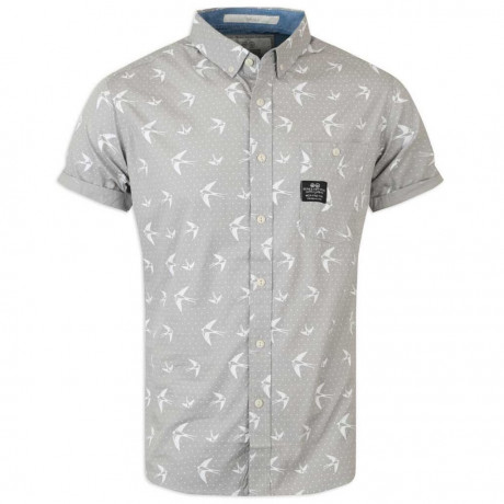 Crosshatch Bird Print Short Sleeve Cotton Shirt Silver Grey Image