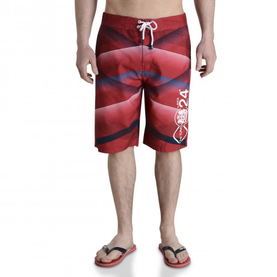 Smith & Jones Swim Beach Shorts & Flip Flop Set Stripe Tango Red Image