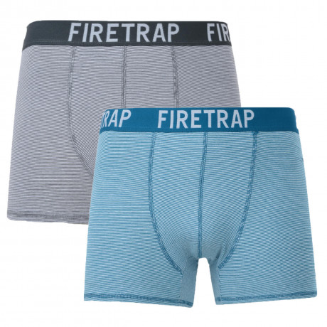 Firetrap 2 Pack Stripe Boxer Shorts Underwear Grey & Blue Image