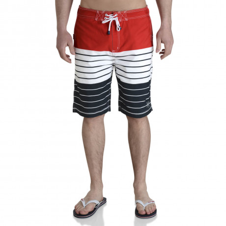 Smith & Jones Beach Swim Shorts & Flip Flop Set Stripe Red Image