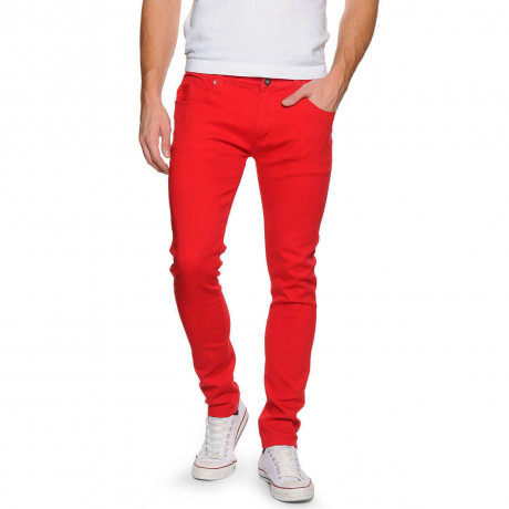 Soul Star Slim Tapered Skinny Fit Red Denim Jeans Image