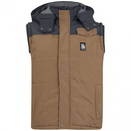Crosshatch Padded Bodywarmer Brown Grey Image