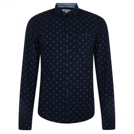 Smith & Jones Print Shirt Long Sleeve Cotton Navy Iris Image
