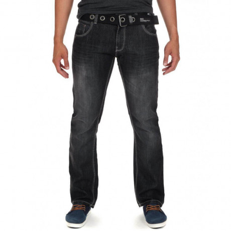 Crosshatch Straight Fit New Garda Jeans Black Wash Image