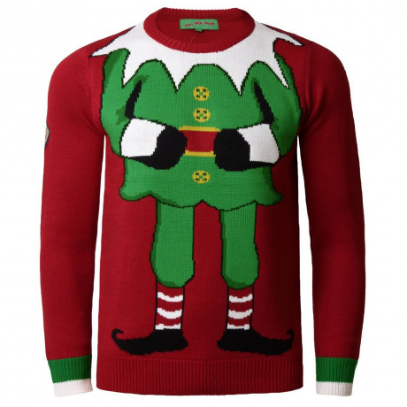 Xmas Jumper Crew Neck Christmas Knit Elf Dark Red Image