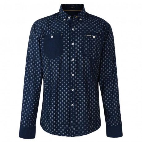 Firetrap Shirt Long Sleeve Printed Cotton Navy Indigo Image