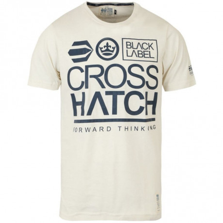 Crosshatch Printed Large Go Logo T-shirt Light Beige Image