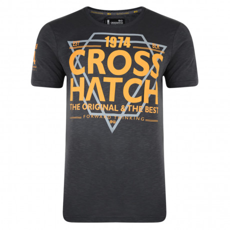 Crosshatch Printed Slinkz T-shirt Forged Iron Grey Image