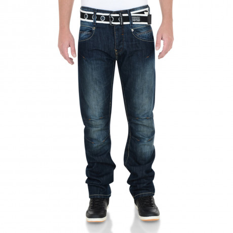 Crosshatch Straight Fit Oakland Jeans Faded Dark Wash Image