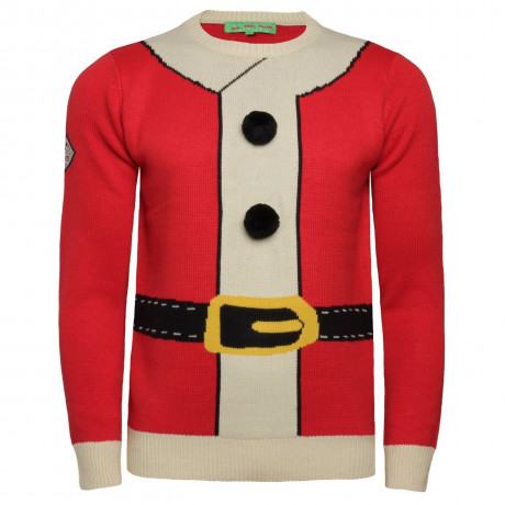 Xmas Jumper Crew Neck Christmas Knit Santas Coat Red Image