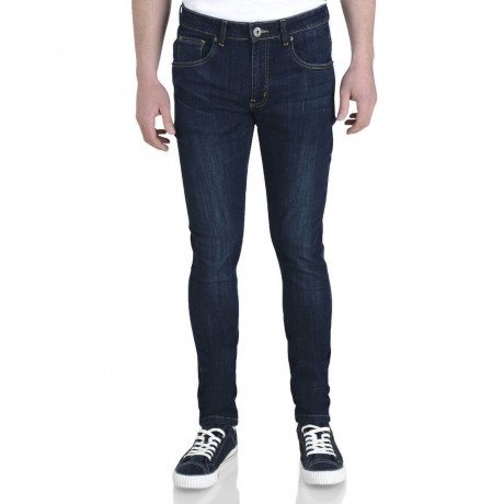 Soul Star Slim Tapered Skinny Fit Dark Wash Blue Denim Jeans Image