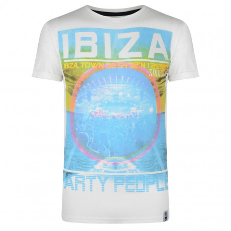 Soul Star Print T-shirt Ibiza Party People Ecru Cream Image