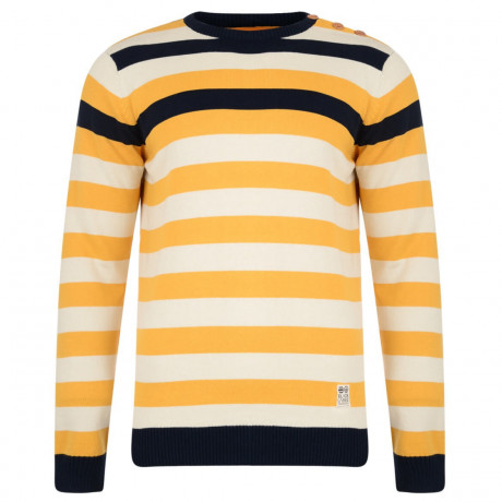 Crosshatch Crew Neck Stripe Jumper Feda Yellow Image