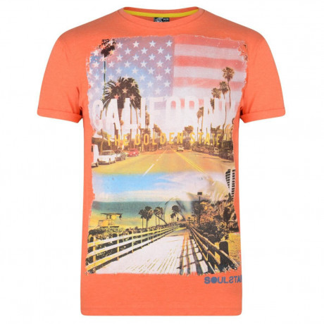 Soul Star Print T-shirt California Golden State Orange Image