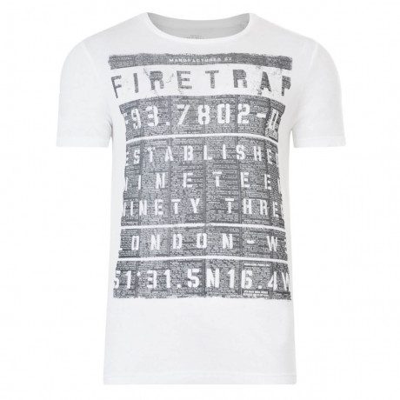 Firetrap Crew Neck Billboard Print T-shirt White Image