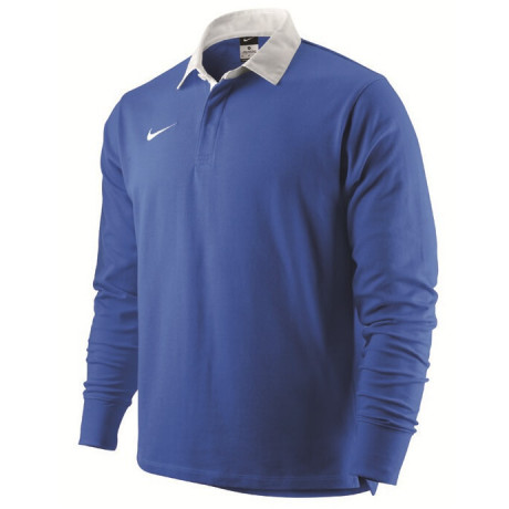 Nike Long Sleeve Cotton Rugby Shirt Royal Blue Jersey Top Image