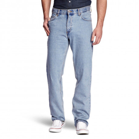 Lee Brooklyn Straight Stretch Jeans Super Stonewash Blue Image